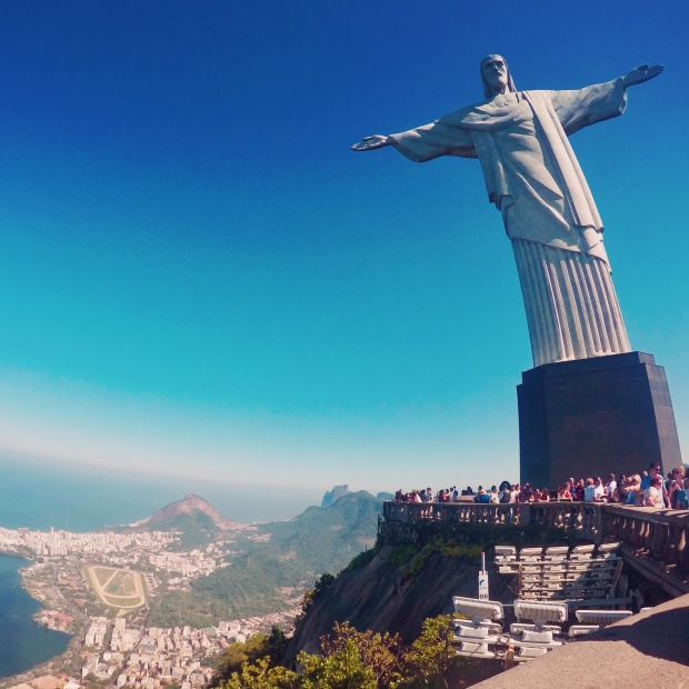 Tourist day and Christ the Redeemer in Rio De Janeiro, Brazil